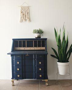 White Secretary Desk, Secretary Desks, Recycled Furniture, Vintage Furniture, Painted Furniture, Cabinet Furniture, Furniture Makeover, Desk Makeover, Furniture Inspiration