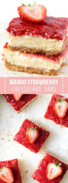 Elevate your next gathering or dinner party with these Mango Strawberry Cheesecake Bars! A homemade strawberry topping is layered over creamy mango cheesecake bars to create an irresistible sweet treat. @easyhomemeals #ad #mango #strawberry #cheesecake #recipe