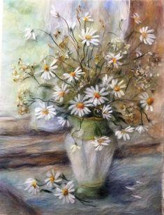 Купить Картина из шерсти Летнее утро с ромашками - картина из шерсти, живопись шерстью, шерстяная акварель