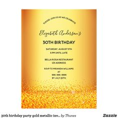 Shop birthday party gold metallic elegant invitation created by Thunes. Personalize it with photos & text or purchase as is! 40th Birthday Party For Women, 90th Birthday Parties, 21st Birthday Invitations, Elegant Invitations, Metallic, Gold, Sweet Sixteen, Script, 50th