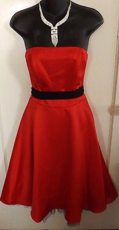 Stunning Strapless Red Polka Dot Rampage Pin Up 50s Style Dress 7 | eBay