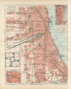 Chicago map old map of chicago print vintage chicago map 1895 chicago illinois city plan antique map gumiabroncs Images