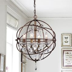 Edwards Antique Bronze and Crystal 24-inch Sphere Chandelier - On Sale - Overstock - 9318930 Orb Chandelier, Chandelier Makeover, Bubble Chandelier, Chandelier Bedroom, Crystal Chandeliers, Antique Chandelier, Pendant Lamps, Antique Lamps, Art Deco