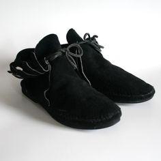 Fringe Moccasin Boots Tumblr | vintage shoe love., size 6 black suede moccasin…