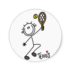 Basic Stick Figure Tennis Tshirts and Gifts Sticker
