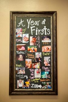 A year of firsts! Such a cute way to display photos at baby's first birthday.