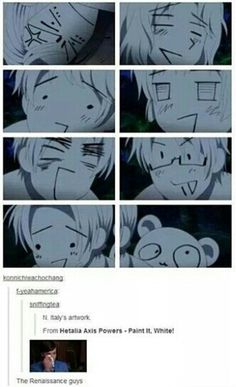 Hetalia: Paint it white.   England is angry and Panda eyes are messed up.  XD Italy...