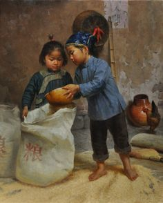 Jie-Wei Zhou   Harvest  Oil - 30 by 24 Inches  $13,500   trailsidegalleries.com #trailsidegalleries #mothersday #paintings #art #figural #asianart