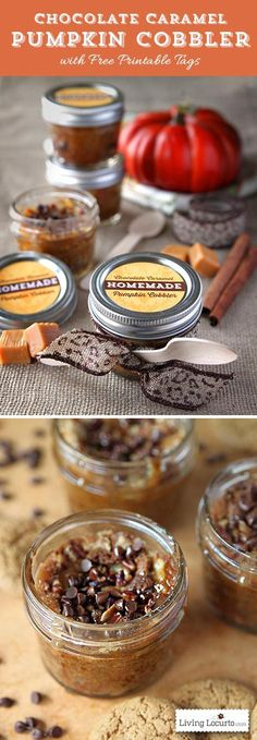 Chocolate caramel pumpkin cobbler dessert recipe in a jar with free printable tags for gifts. This is so great for Thanksgiving!  http://LivingLocurto.com