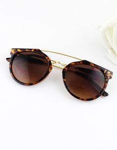 Leopard Metal Frames Wrap Resin Sunglasses -SheIn
