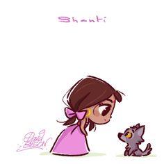 Chibies of Disney's Shanti & Baby Wolf , Lilo & Stitch , Vanellope & Sour Bill . https://www.facebook.com/artofdavidgilson/