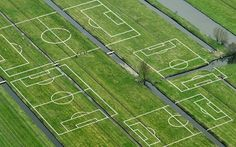 Polder- a tract of low land, especially in the Netherlands, reclaimed from the sea or other body of water and protected by dikes. Football Field, Football Players, Radios, Lateral Thinking, Dutch People, Spanish Artists, Space Architecture, Rebel, Design Art