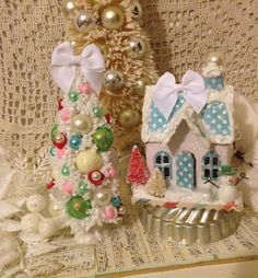 Cardboard Christmas Glitter House and by ThePokeyPoodle on Etsy