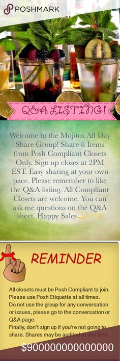 ShareGroup Q&A's Please like this listing to receive ShareGroup reminders. All Posh Compliant closets are welcome. You do not need permission to join, just make sure you follow the rules. Each day the ShareGroup category will be announced along with the amount of items that need to be shared and the timeframe for completion 🌟 Accessories