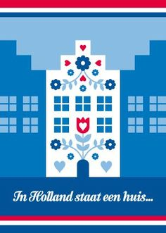 Ansichtkaart Rood-Wit-Blauw Huias - inspiration for a wall hanging. Round Robin, Dutch Language, Going Dutch, Dutch House, Fair Isle Knitting Patterns, Amsterdam Holland, The Old Days, My Heritage, Graphic Design Typography