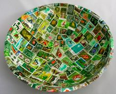 Green stamp bowl. Should I Ebay the stamps or make something like this?