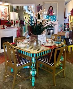 Dustin Van Fleet at FUNK Living. FUNK Living pushing Dixie Belle to new artistic limits!!! Like we did with this FUNKY, FRESH & FEIRCE Alice in Wonderland inspired dining room table!!! We think it's pretty FABULOUS what do y'all think? #funkyfurniture