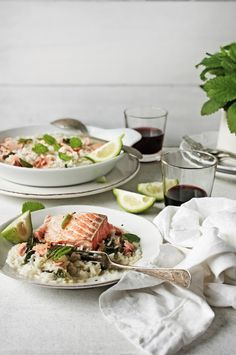 salmon and lemon balm rice