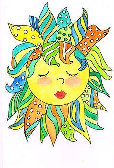 6 X 8 Rise and Shine Diva Sun Children Scrapbook Decor Original Watercolor Art Sun Painting, Watercolor Art Paintings, Tole Painting, Sun Moon Stars, Sun And Stars, Zentangle, Ying Y Yang, Sun Drawing, Good Day Sunshine