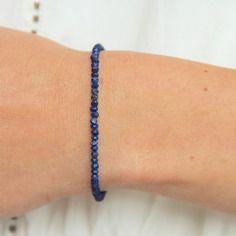 Bracelet tour complet en perles de lapis lazuli & laiton brut (doré), idée cadeau, bijou ethnique chic / Myo jewel