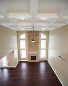 Covington Legacy Great Room Ohio Tan Limestone Coffered Ceiling Wayne Homes Green