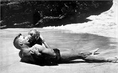 "Famous Kiss:  ""From Here to Eternity"", starring Burt Lancaster and Deborah Kerr."