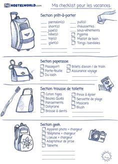 checklist pour faire ses valises femme