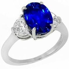 Vintage 4.26ct Oval Cut Ceylon Sapphire 0.90ct Half Moon Cut Diamond Platinum Engagement Ring - See more at: http://www.newyorkestatejewelry.com/rings/estate-4.26ct-sapphire-0.90ct-diamond-engagement-ring-/25172/1/item#sthash.6utytZ0C.dpuf