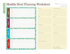 3 Free Printable Meal Planners: Monthly Meal Planner