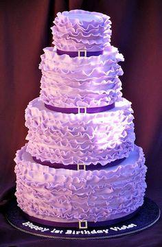 Wow! Very pretty purple ruffle wedding cake.