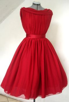 A beautifully elegant Red Chiffon 50s Inspired Cocktail Dress Custom. $265.00, via Etsy.