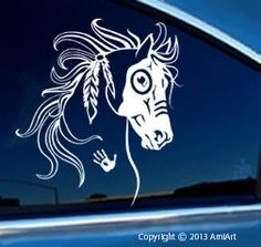 Amazon.com: Native AMERICAN INDIAN - Equestrian Vinyl Horse Decal Bumper Sticker for Cars: Automotive