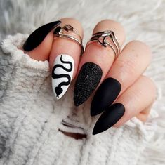 Black And Blue Nails, Black Ombre Nails, Black Nails With Glitter, Matte Black Nails, Orange Nails, Sky Blue Nails, Punk Nails, Edgy Nails, Stylish Nails
