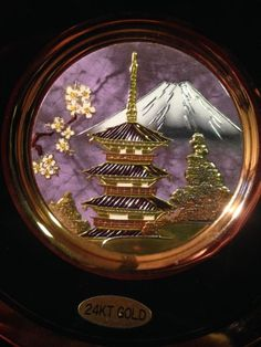 24K Gold The Art of Chokin Decorative Plate - Japanese Scene- Made in Japan