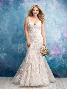 8b0a461f65bf2 We are so in love with this sheath design from Allure Bridals! This stunning  bridal gown features a lovely symmetrical lace covered bodice and a  gathered ...
