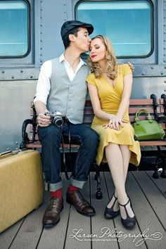 Adorable vintage engagement shoot. Love the styling!