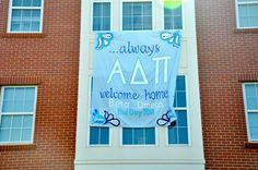 Banners/ Posters | Alpha Delta Pi | ADPi ...always home sweet home. Sweet and simple bid day banner. #greek #sorority #recruitment