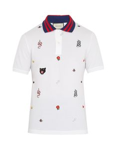 b080893410a Embroidered stretch-cotton piqué polo shirt | Gucci | MATCHESFASHION.COM  Pique Polo Shirt