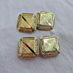 Antique 10K Gold  Cufflinks, Engraved Cuff Links, Engine Turned,  Double Sided, Edwardian Foliate design  ca 1910 - $176.00 USD
