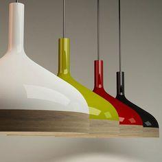 Lámparas de techo, en madera y porcelana