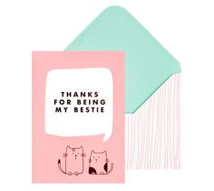 Say thanks to your bestie with this super cute cats Greeting Card
