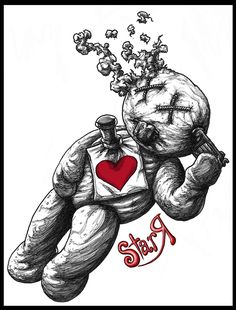 Suicide Love by DickStarr Voodoo Doll Tattoo, Voodoo Dolls, Arte Horror, Horror Art, Tatuagem New School, Scary Drawings, Doll Drawing, Creepy Tattoos, Bear Tattoos