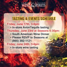 Enjoy great wine encounters only here at #CampbellStationWineandSpirits. We have created uniquely memorable and informative wine tastings and events just for you! Check out our list of activities below for the rest of June.  Visit our website now: http://www.campbellstationwine.com/