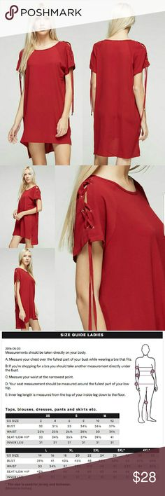 Tshirt dress with shoulder tie Light weight high low tshirt dress with tie shoulders. Thigh length.  Model is 5'8. 100% Polyester Dresses Mini