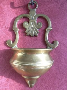 Vintage Brass Holy Water Font French Lily by CorpusChristiAntique