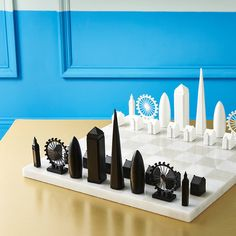 London Skyline Chess Set With Marble Playing Board. Skyline Chess introduces the London edition chess set, which comes complete with exclusive gold screen printed Carrara marble playing board.
