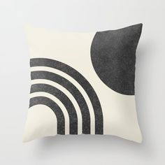 Mid century modern - Sun & Rainbow black Throw Pillow by moonlightprint Black Throw Pillows, Fluffy Pillows, Throw Cushions, Couch Pillows, Designer Throw Pillows, Down Pillows, Accent Pillows, Decorative Pillow Cases