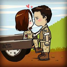 [Drama Descendants of the Sun 태양의 후예 Wallpaper Iphone Cute, Cute Wallpapers, Descendants Of The Sun Wallpaper, Song Joong Ki Birthday, Chibi, Descendents Of The Sun, Love Cartoon Couple, W Two Worlds, 22 November