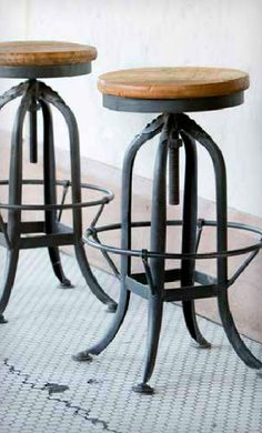 """We could say we discovered these industrial stools in an abandoned factory they're that convincing! Features an adjustable height from 25"""" to 32"""". 12 ½"""" diamete"""