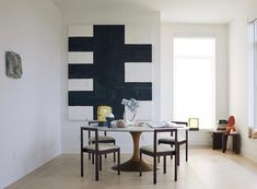 wood, interior, dining room, chairs, black and white art work